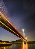 stock photo of hong kong bridge  - Ting Kau suspension bridge in Hong Kong - JPG