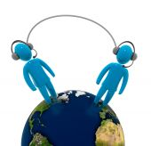image of long distance relationship  - Two human figures wearing headphone with microphone - JPG