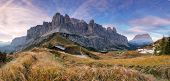 Summer View Of Sella Mountain And Sella Pass With Saas Pordoi Peak, Passo Gardena