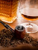 smoking pipe, tobacco  and liquor