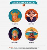 Bookstore subjects, flat icons and characters