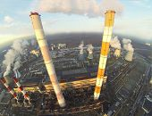 picture of chp  - Big territory of power plant with many different chimneys at winter day - JPG