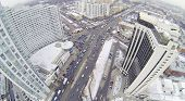 Residential district Sokolniki at winter day in Moscow, Russia. Aerial view