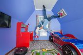 pic of inverted  - Father with daughter in children room at inverted house - JPG