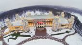 Big Tsaritsyno Palace at winter evening in Moscow, Russia. Aerial view