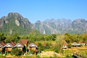 View Of Vang Vieng, Laos.