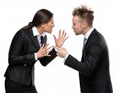 stock photo of debate  - Two business people debate - JPG
