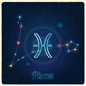 picture of pisces  - Vector constellation Pisces with Zodiac sign - JPG