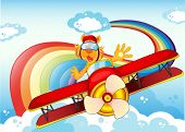 foto of float-plane  - Illustration of a tiger on a plane near the rainbow - JPG