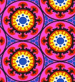 foto of motif  - Ethnic pattern in bright color with stylized flowers - JPG