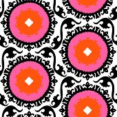 image of motif  - Ethnic pattern in bright color with stylized flowers - JPG
