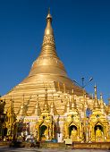 stock photo of yangon  - The Shwedagon Pagoda in Yangon the capital of Republic of the Union of Myanmar - JPG