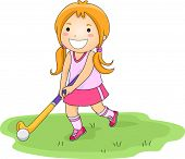 stock photo of little-league  - Illustration of a Little Girl Playing Field Hockey - JPG