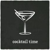 stock photo of cocktail menu  - cocktail black old background  - JPG