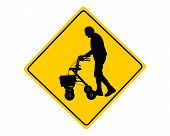 picture of rollator  - Detailed and accurate illustration of people with rollator warning sign - JPG