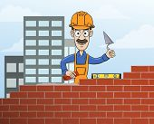 image of mason  - Construction site mason worker in helmet building red brick wall with trowel vector illustration - JPG