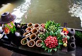 image of chan  - Fresh ingredients in a boat at Taling Chan floating market - JPG