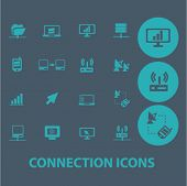 connection flat icons set  for digital web, print, design, mobile phone apps, vector