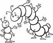 stock photo of millipede  - Black and White Cartoon Illustration of Ant and Caterpillar or Millipede Insects Characters for Coloring Book - JPG