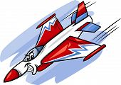 stock photo of fighter plane  - Cartoon Illustration of Funny Jet Fighter Plane Comic Mascot Character - JPG