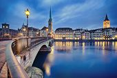 stock photo of zurich  - view on Fraumunster Church and Church of St - JPG