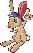stock photo of overbite  - A bunny rabbit cartoon character dressed in a sports style baseball cap - JPG