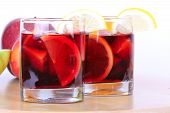image of sangria  - Sangria in glasses on wooden board closeup - JPG