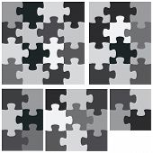 picture of monochromatic  - A monochromatic group of flat jigsaw puzzles - JPG