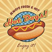 stock photo of sandwich  - American hot dog sandwich with ketchup and mustard poster template vector illustration - JPG