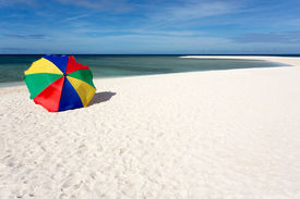 image of camiguin  - Colorful sunshade on pure tropical white beach - JPG