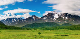 stock photo of mountain-range  - Landscape with snowy mountains - JPG
