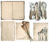 stock photo of vintage antique book  - Antique kitchen utensils silver cutlery and old cook book isolated on white background - JPG