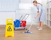 stock photo of maids  - Portrait Of Young Maid Cleaning Floor With Mop - JPG