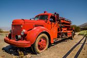 foto of valley fire  - old vintage classic fire truck in death valley national park - JPG