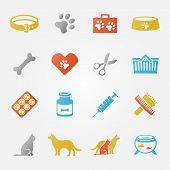 picture of vet  - Bright veterinary pet vector icons set  - JPG
