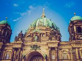 foto of dom  - Vintage looking Berliner Dom cathedral church in Berlin Germany