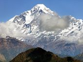 image of nepali  - View of mount Dhaulagiri with clouds  - JPG