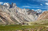 pic of nun  - village in valley and Nun Kun range  - JPG