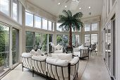 image of screen-porch  - Porch in luxury home with wall of windows - JPG