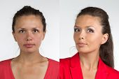 pic of pimples  - Portrait of young woman before and after make up  - JPG