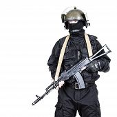 foto of anti-terrorism  - Spec ops soldier in black uniform and face mask with his rifle - JPG