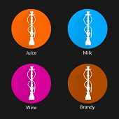 picture of shisha  - Circle colored vector icons for hookah with different liquid for shisha on black background - JPG
