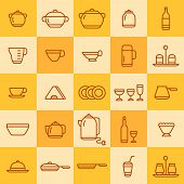 pic of milkman  - set of icons of different types of cookware on a colored background - JPG