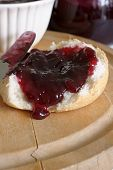 picture of home-made bread  - Bread with home made damson or plum jam - JPG