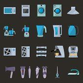 picture of machine  - Set of household appliances flat icons o machine sewing machine iron vacuum cleaner washing machine - JPG