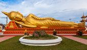picture of recliner  - Gold reclining Buddha in Wat Si Saket in Vientiane Laos - JPG