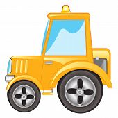 pic of tractor  - Vector illustration yellow tractor on white background - JPG