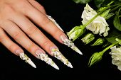 stock photo of nail-design  - Female hand  with  beautiful floral design on  nails - JPG