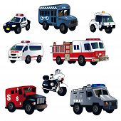 pic of armored car  - A vector illustration of cartoon law enforcement cars - JPG