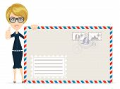 stock photo of telegram  - Happy female Delivering Mail with large envelopes Over White Background  - JPG